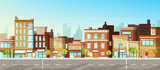 Fototapeta Miasto - Modern city, town street flat vector with low-rise houses, commercial, public buildings in various architecture styles, sidewalk with city lights and road illustration. Metropolis outskirt background