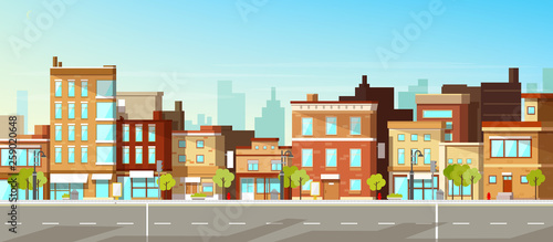 Cuadros en Lienzo Modern city, town street flat vector with low-rise houses, commercial, public buildings in various architecture styles, sidewalk with city lights and road illustration