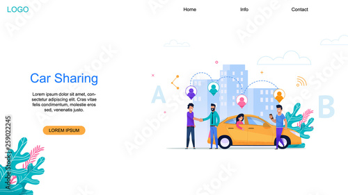 Fotomural Car Sharing landing Page. Taxi Automobile Network.