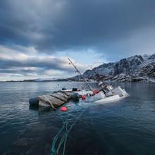 Partially Sunken Fishing Boat Floating In Harbor, Fiskebøl, Austvågøy, Lofoten Islands, Norway