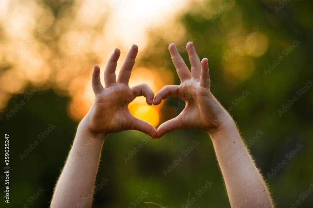 Fototapeta Heart shape hand of kid's body language for children's love, kindness, love concept.