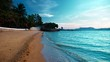 The concept of rest. beautiful tropical beach, calm blue waves at sunset