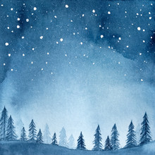 Watercolour Illustration Of Peaceful Spruce Forest Under Night Sky Full Of Stars. Hand Drawn Water Color Gradient Graphic Drawing, Backdrop For Creative Design, Banner, Poster, Card, Print, Wallpaper.