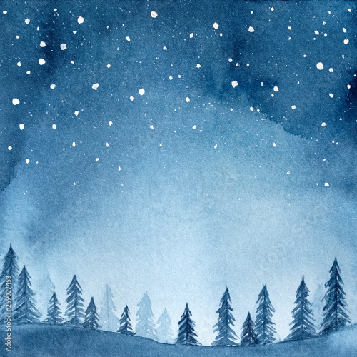 Watercolour Illustration Of Peaceful Spruce Forest Under