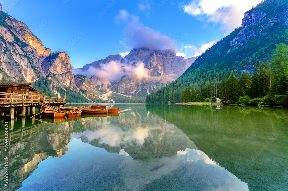 Fototapety, obrazy: Spectacular romantic place with typical wooden boats on the alpine lake,(Lago di Braies) Braies lake,Dolomites,South Tyrol,Italy,Europe