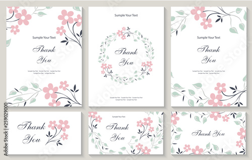 Fototapeta Flower Vector Card Template Thank You Blank Wedding Invitation Greeting Card Banner Flowers Leafs Pink Rose Decorative Frame Set