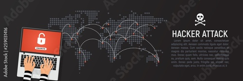 Leinwand Poster Global hacker attack world map vector illustration web banner rectangle template