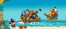 Cartoon Scene With Pirates On ...