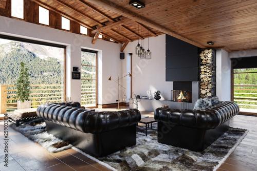 Fotografie, Obraz  Gemütliches Wohnzimmer Interieur im skandinavischen Stil