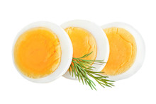 Boiled Egg Slice Isolated On W...