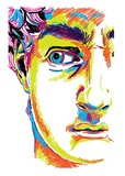 Greek sculpture young man. Greek statue Renewal, famous sculpture. Drawing markers, pop art. Stylish poster.  The famous sculpture by Michelangelo. - 259043812