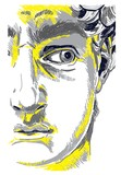 Greek sculpture young man. Greek statue Renewal, famous sculpture. Drawing markers, pop art. Stylish poster.  The famous sculpture by Michelangelo. - 259043813