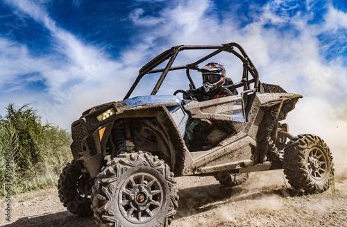 Fototapeta ATV adventure. Buggy extreme ride on dirt track. UTV obraz