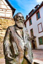 Statue Of Martin Huber In The Old Town Of Heppenheim