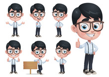 Geek Boy Mascot Character With 7 Poses_EPS 10 Vector