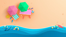 Top View Beach Background With...