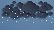 Illustration Of Cloud And Rain On Dark Background. Heavy Rain, Rainy Season, Paper Cut And Craft Style. Vector, Illustration.