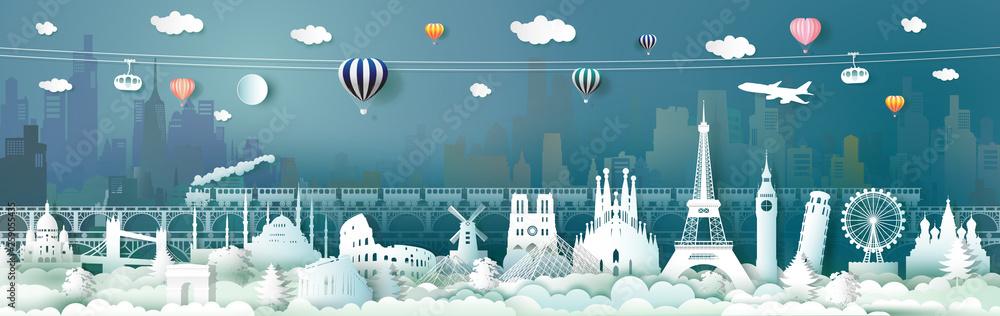 Fototapety, obrazy: Travel landmarks of Europe with train, balloon.