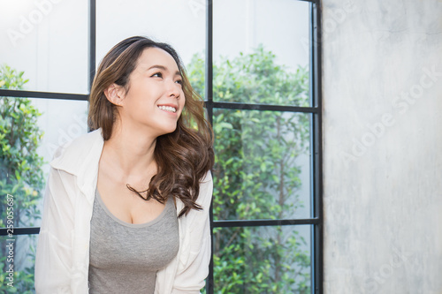 Portrait Of Young Beautiful Asian Sexy Woman Relax Near The Window Smile Happy Asian Girl