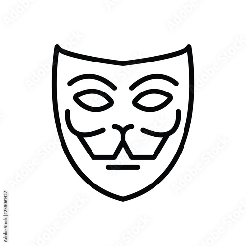 Black line icon for mask fa�ade Canvas Print