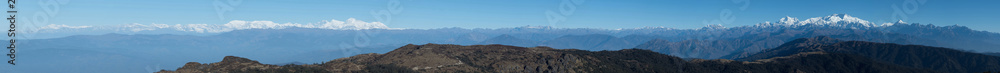 Fototapety, obrazy: Kanchenjunga and Everest Mountain Range in Himalayas, panorama photography taken in the morning