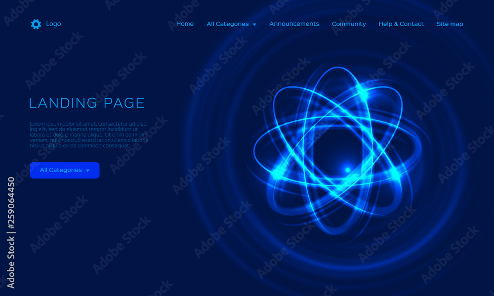 Fototapeta Abstract atom from particles, abstract light background. Blue shining cosmic atom model. Trend gradient design for Web page, mobile app or landing page template. Vector Eps10