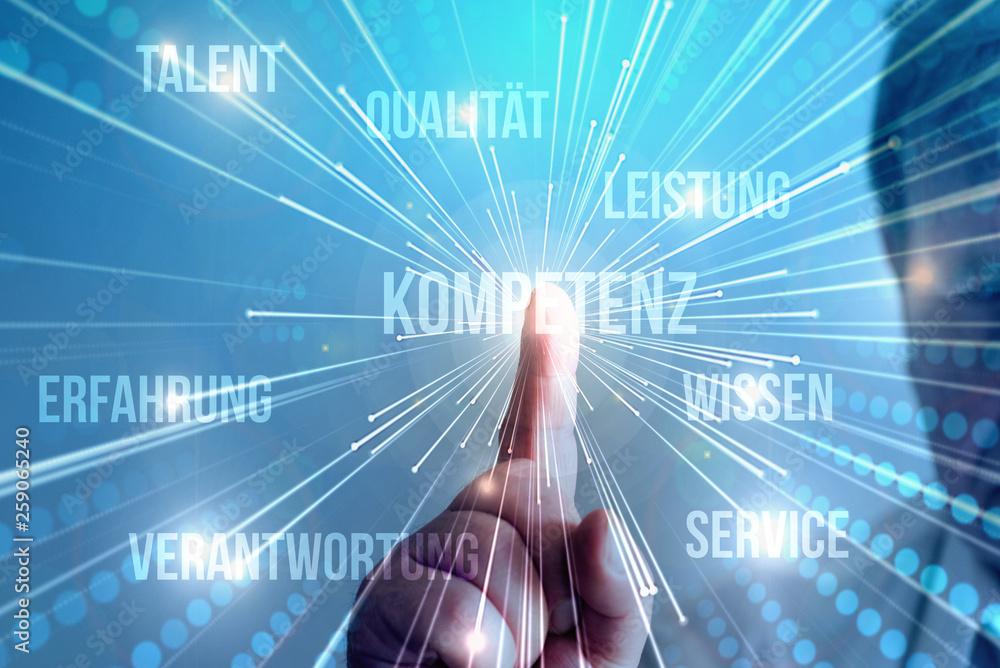 Fototapeta Ein Mann drückt auf dem Bildschirm auf das Wort Kompetenz