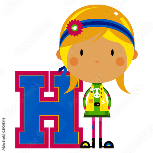 H is for Hippie Educational Illustration Canvas Print