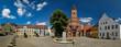 canvas print picture - Denkmalgeschütztes Architekturensemble: Altstädter Markt in Brandenburg an der Havel  mit Rathaus, Roland, Ordonanzhaus, Inspektorhaus, Sekretariats- und Syndikatshaus und Brunnen - Panorama aus 8 Ein