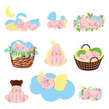 Collection Of Cute Sleeping Newborn Babies Vector Illustration