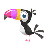 Fototapeta Fototapety na ścianę do pokoju dziecięcego - Toucan cartoon. Vector icon of toucan bird. Exotic colorful bird illustration