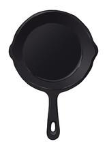 Frying Pan Black Cast Iron Hand Drawn Illustration