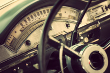Classic Car Interior With Clos...