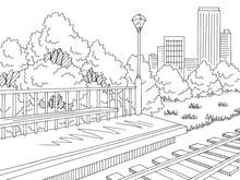Railway Station Graphic Train Platform Sketch Illustration Vector