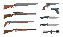 Firearms And Ammunition. Military Weapon. Army Handgun And Revolver Gun. Various Kind Of Rifle. Vector Graphics To Design