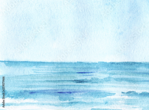 Door stickers Light blue The boundless blue sea, stretching into the horizon, under the azure sky. Hand-drawn watercolor illustration.