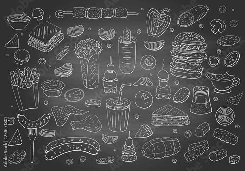 Fototapeta Vintage hand drawn fast food elements on chalkboard. obraz