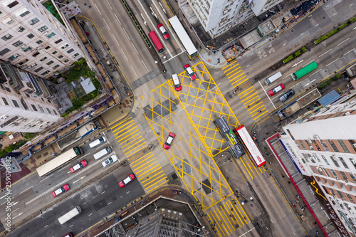 Canvas Top view of Hong Kong traffic road intersection in city