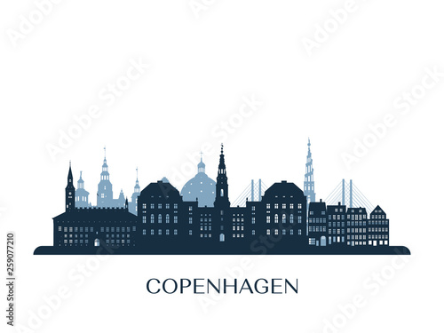 Copenhagen skyline, monochrome silhouette. Vector illustration. Canvas Print