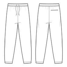 SWEAT PANTS Fashion Flat Sketc...