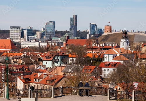 Old Town of Vilnius in the background of skyscrapers