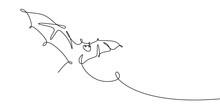 Bat One Line Drawing Vector Illustration