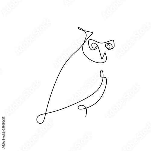 drawing a continuous line of owls with a simple design. Wall mural