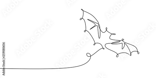 drawing a continuous line of bat animals flying. Canvas Print