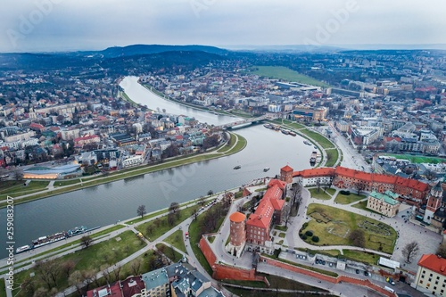 Fototapeta Aerial drone view on Wawel castle over Vistula river in Cracow. obraz