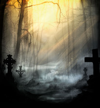 Cemetery In The Fog Lit By Ple...
