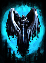 The Angel Of Darkness Hovered In The Air Against The Background Of A Fairy Kingdom
