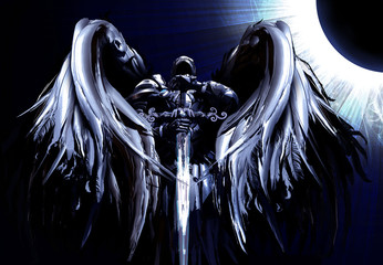 Majestic towering angel with a sword in his hands in a dynamic perspective, against the background of a blue Eclipse