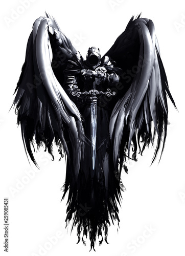 Cuadros en Lienzo Mystical angel in hood and armor with big black wings and crystal sword