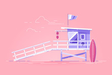Lifeguard Tower With Flag On The Beach. Modern Vector Illustration.
